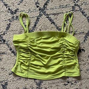 Neon green scrunched crop top